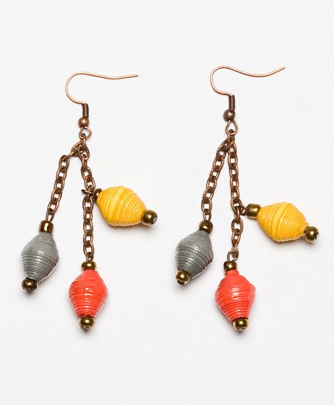 Handcrafted paper beads dangle from bronzed chain to create a delicate effect that will light up your look.