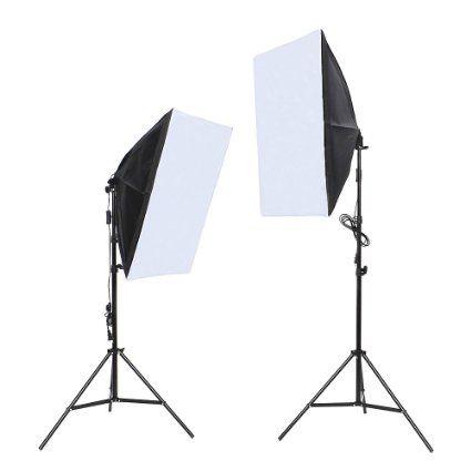 fotolampe amzdeal 50x70cm fotostudio softbox set studioleuchte mit 2x135w led fotolampen test