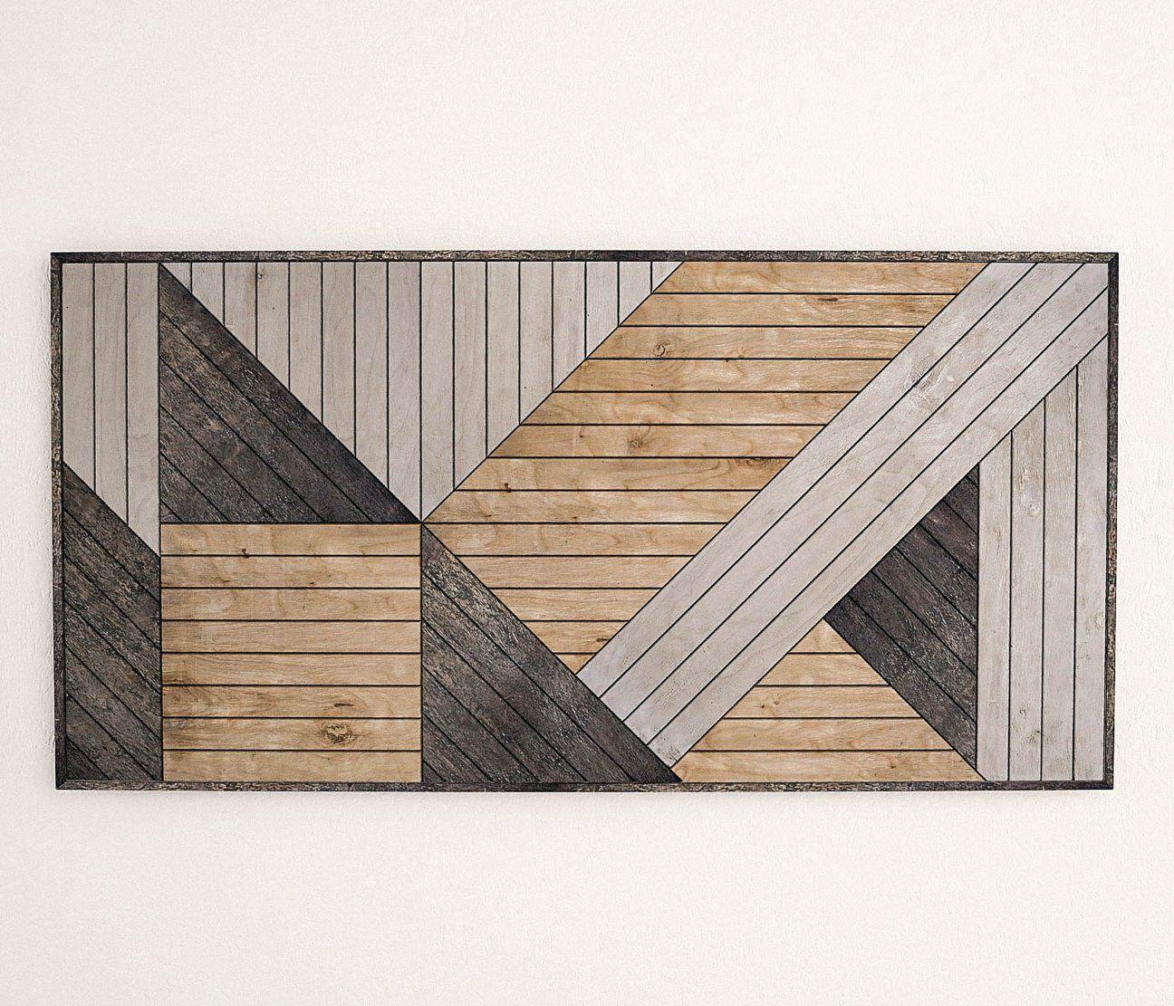 Modern Geometric Wood Wall Art Vertical Wood Wall Art Panel