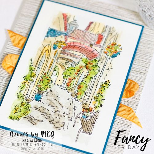 Fancy Friday Art Challenge card featuring Mediterranean Moments from Stampin' Up by Marisa Gunn.