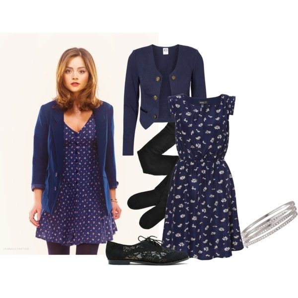 Clara Oswald - Hide by roseunspindle on Polyvore featuring Vero Moda, Fogal, Report, floral, Blue, oxford and ClaraOswald
