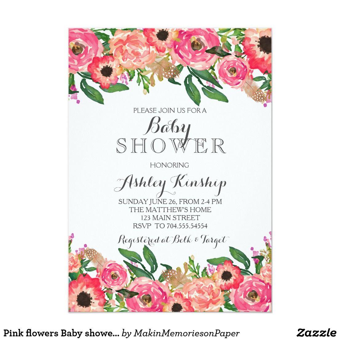 Pink flowers Baby shower invitation