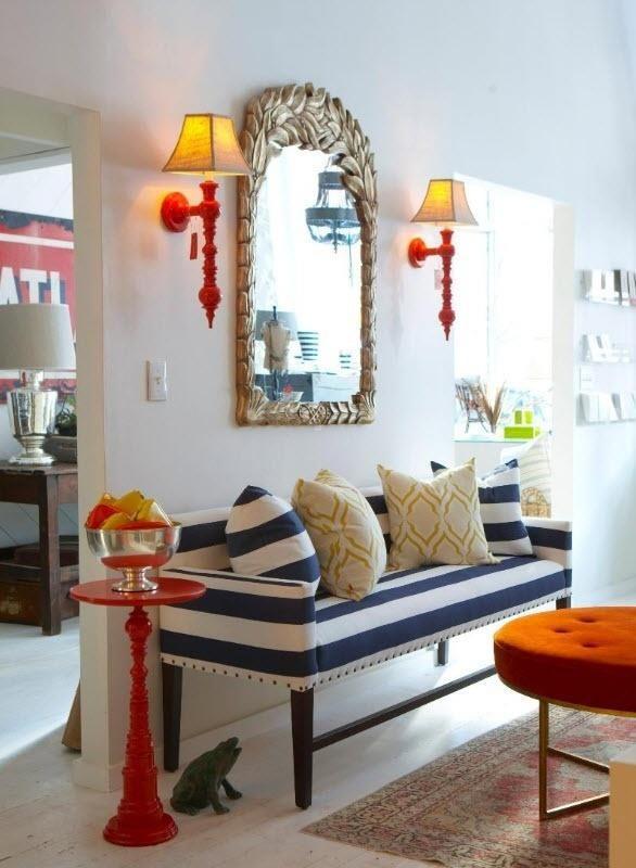 Inspiração decoração sala amarelo azul marinho