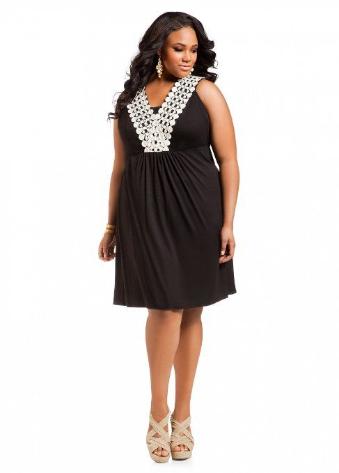 Ashley Stewart Women's Plus Size Embroidered Babydoll Dress