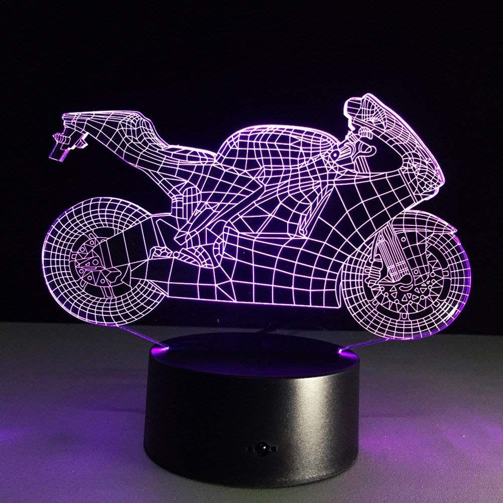 3d Lampe Nachtlicht Stimmungslicht Tischlampen Motorrad Diese Stimmungsvolle Deko Lampe Ist Ein Blickfang In Jedem Zimmer Nachtlicht Nachtleuchte Tischlampen