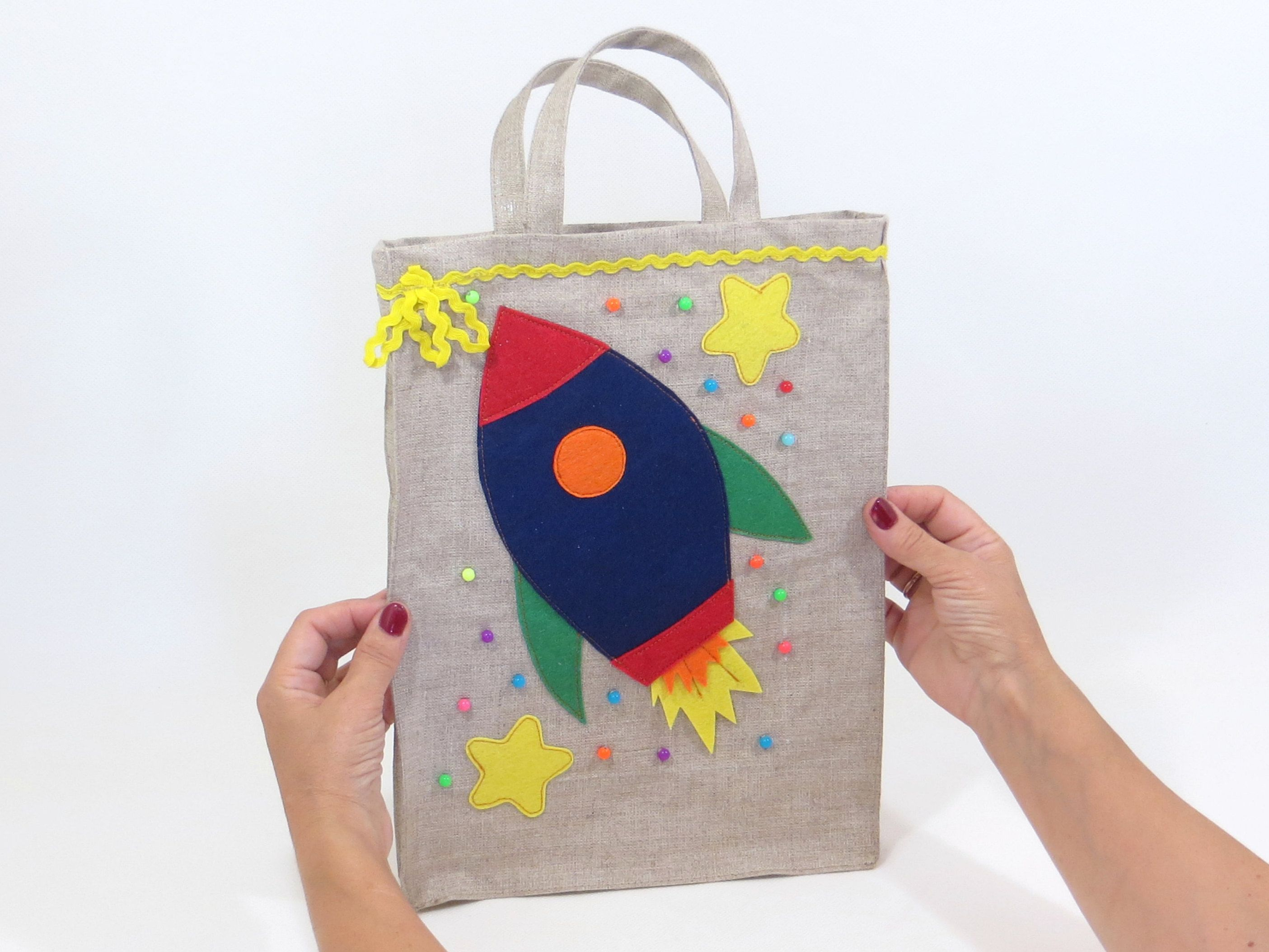 Linen Event Gift Bag For Fidget Blanket Felt Rocket D