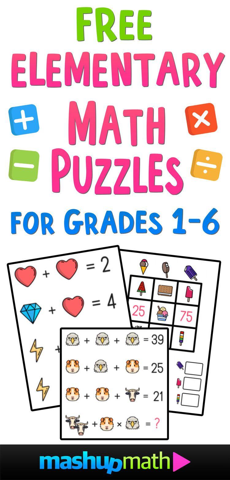 A Look Inside The Big Book Of Super Fun Math Puzzles For Grades 1 6 Mashup Math Maths Puzzles Fun Math Elementary Math Teacher [ 1563 x 750 Pixel ]