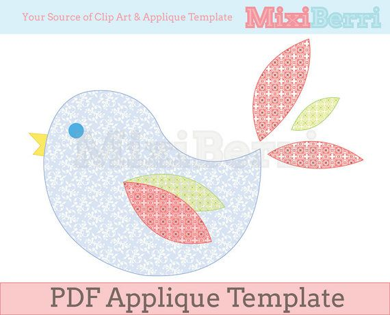 lovely bird applique template pdf instant download aplique