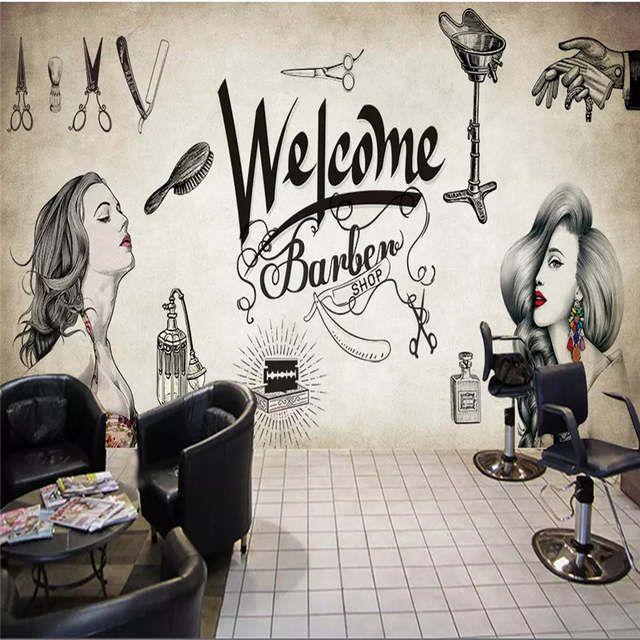Online Shop Vintage Barber Shop Mural Wallpaper Hair Salon ...