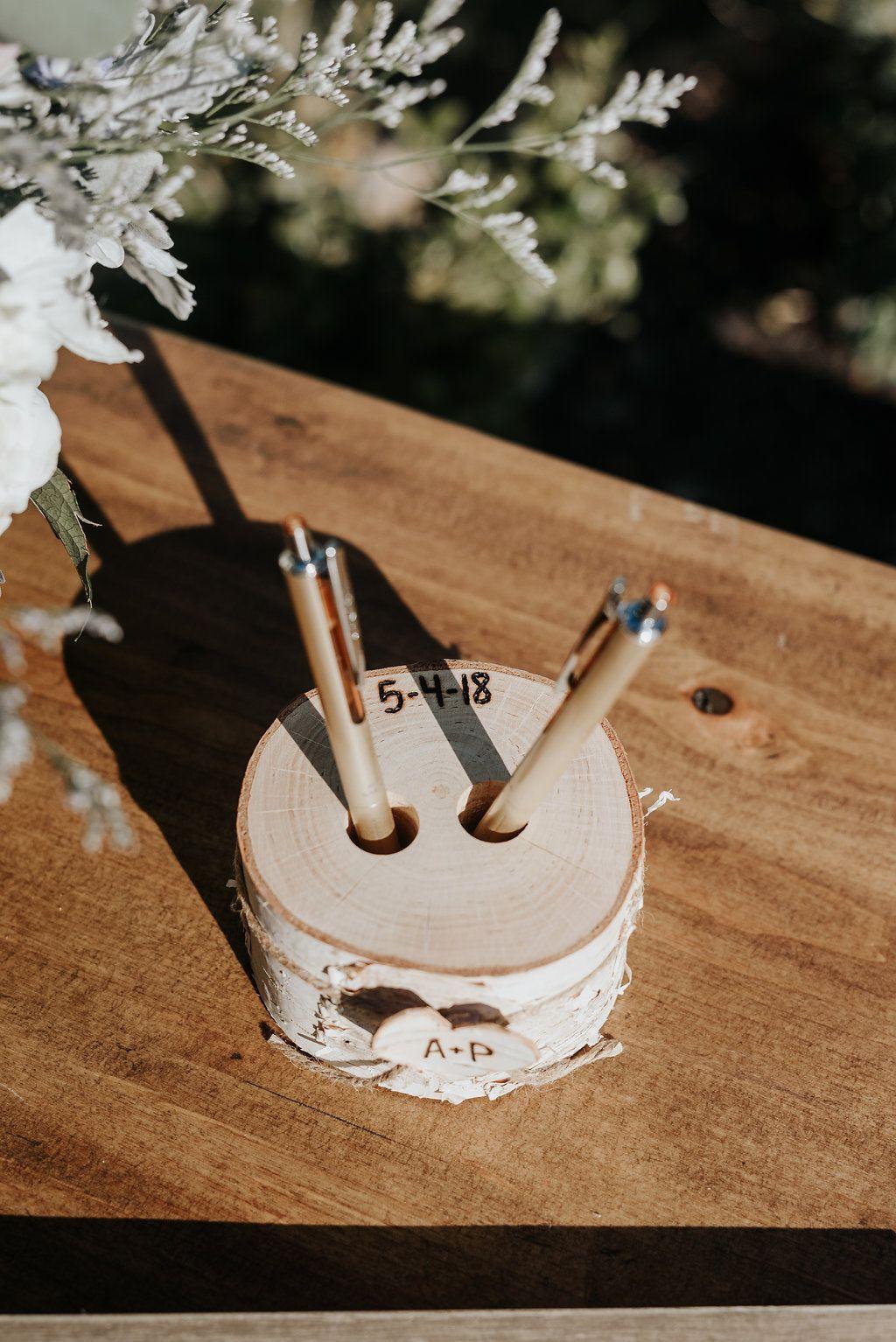 Diy wedding guestbook pen holder rustic wedding decor ideas diy