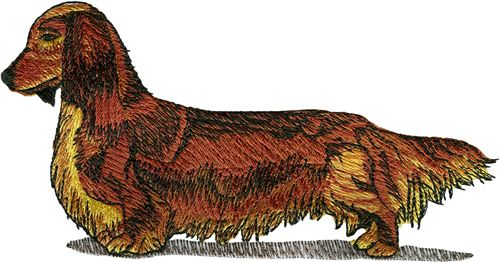 Longhaired Dachshund Embroidery Design Machine Embroidery