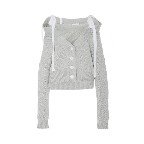 Adeam Light Grey Chunky Off-The-Shoulder Cardigan (€510) ❤ liked on Polyvore featuring tops, cardigans, ribbed off the shoulder top, off shoulder tops, cropped cardigan, off shoulder crop top and tie crop top