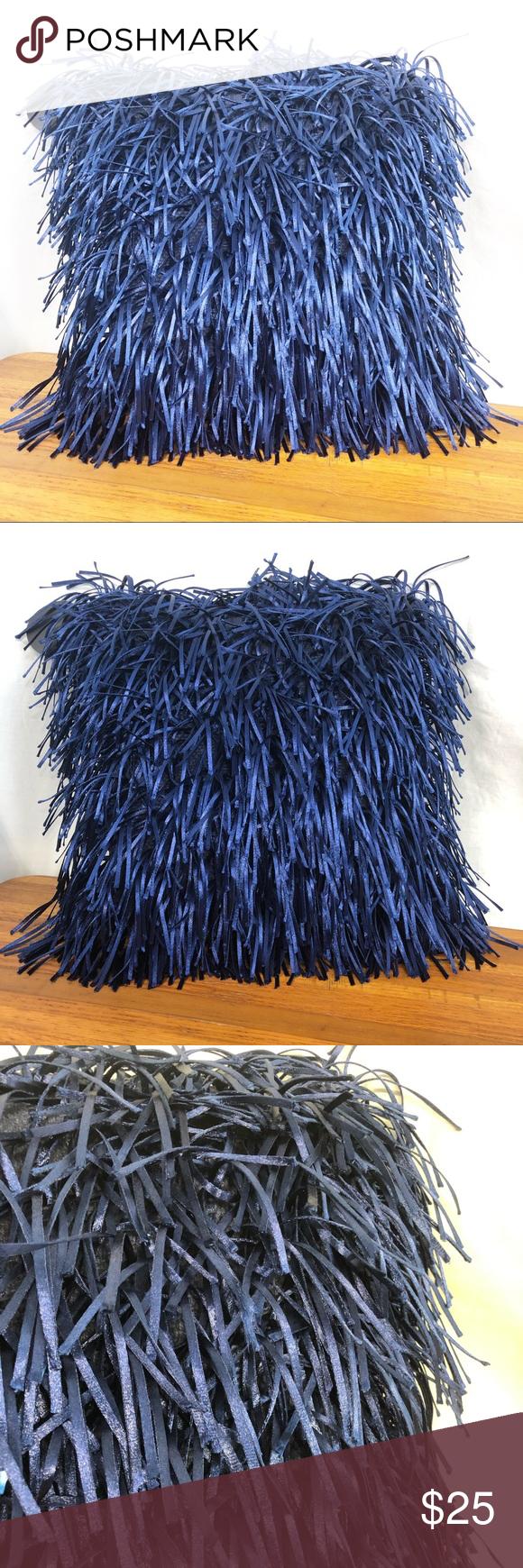 Cynthia Rowley Blue Fringe Decorative Pillow Cynthia Rowley metallic blue fringe Cynthia Rowley Blue