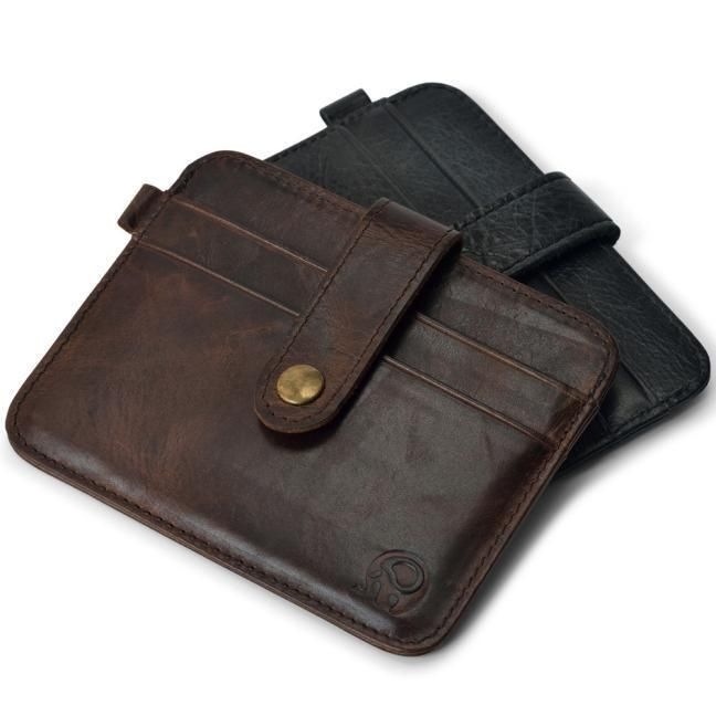 Men/'s Luxury Leather Slim Credit Card Holder Mini Wallet ID Case Purse Bag Pouch