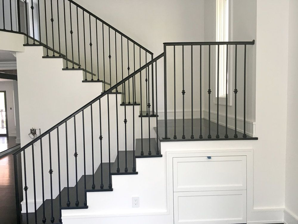 Clean Interior Stair Wrought Iron Railing Eagle Iron Fabrication