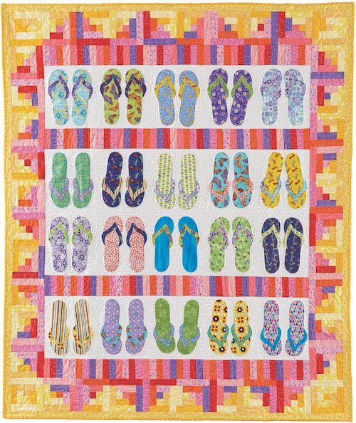 7b7a1027594f1e SUMMER FLIP FLOPS quilt kit  Everybody loves flip-flops! This playful quilt  uses bright fun print