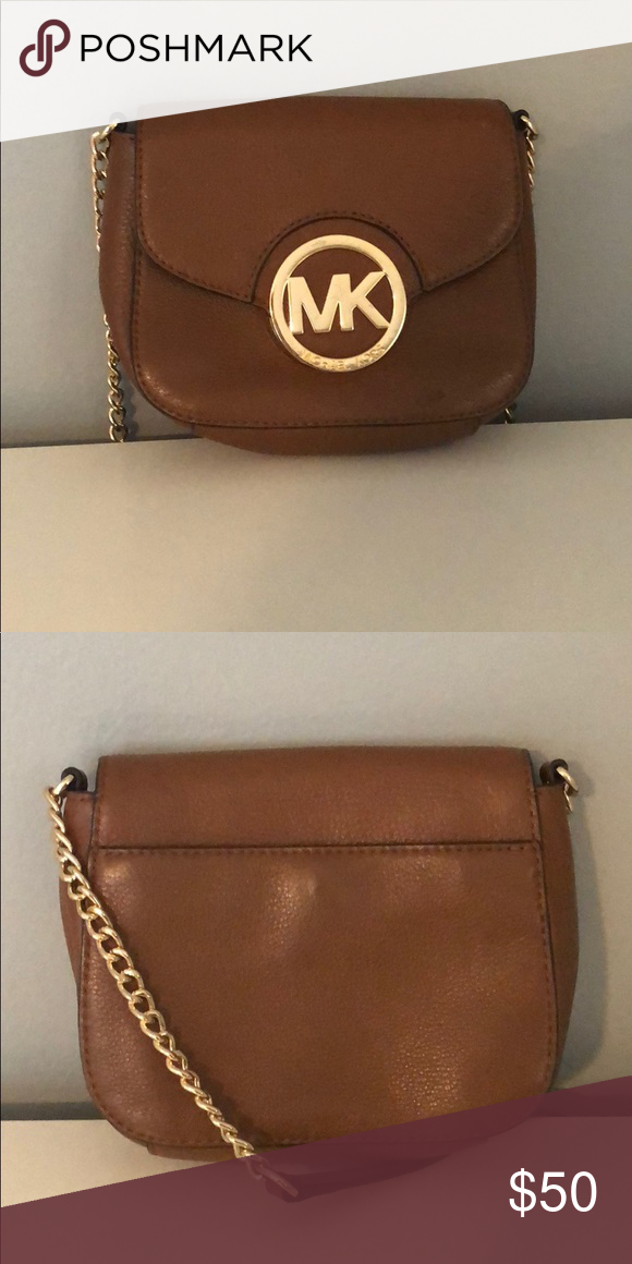 brown small Michael Kors crossbody light brown Small Adjustable strap  Scratched a little on the gold MK symbol KORS Michael Kors Bags Crossbody  Bags c7abb790a7