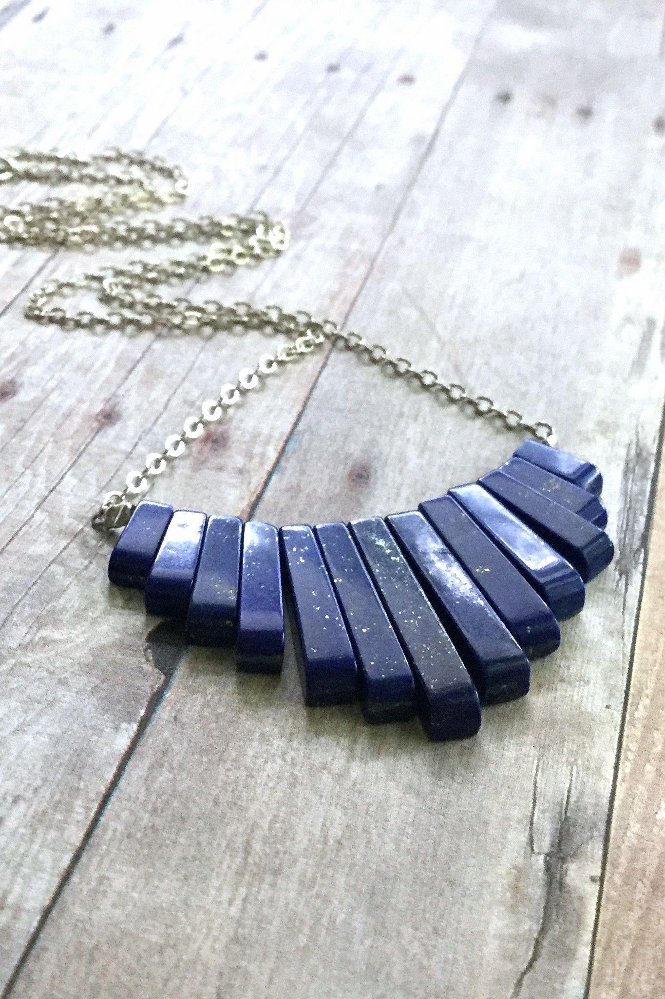 Lapis Lazuli Necklace, Natural Stone Fan Necklace, Cobalt Blue Semi Precious…