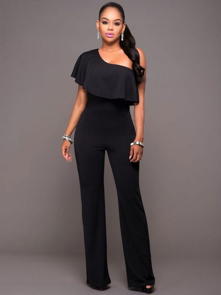 distinctive design casual shoes soft and light Women Black Jumpsuit Short Sleeve One Shoulder Wide Leg ...