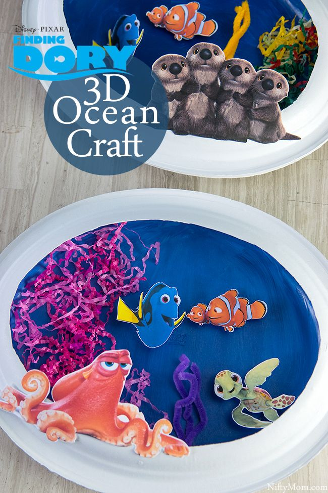 Finding dory craft 3d ocean scene with paper plates and for Finding dory crafts for preschoolers