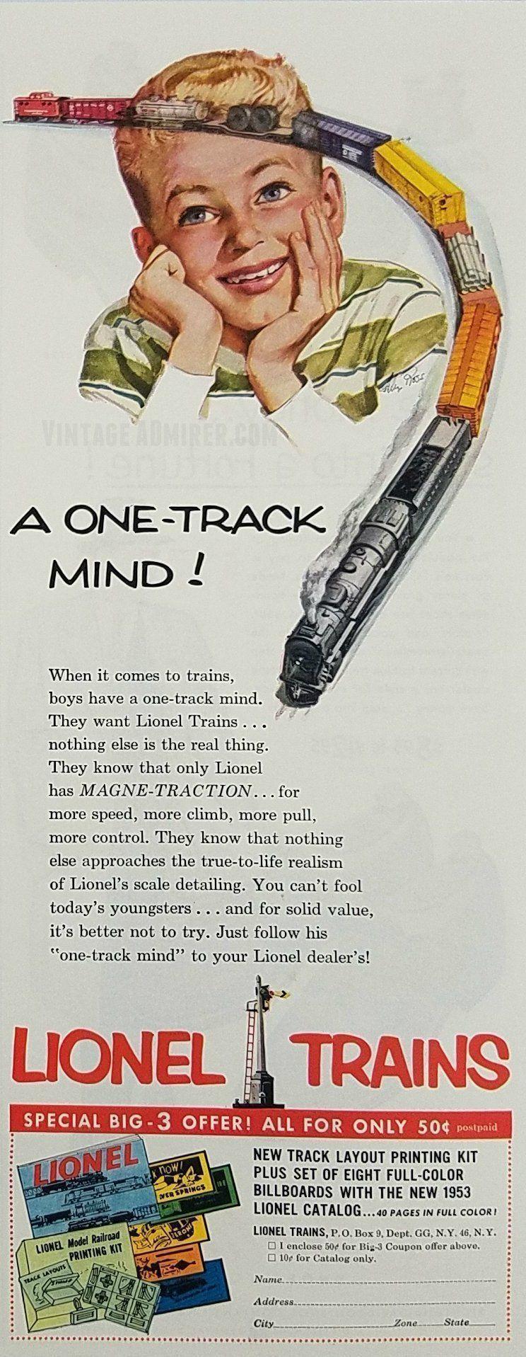 1953 Lionel Train Vintage Ad