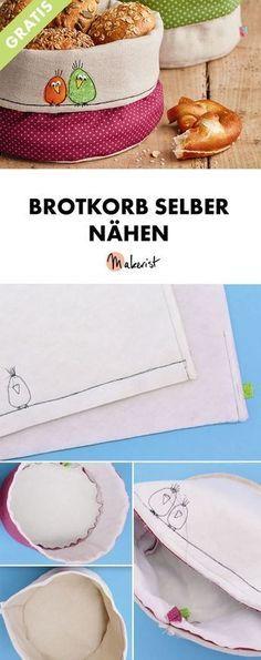 Brotkorb selber nähen - kostenlose Nähanleitung via Makerist.de #wohnwagen