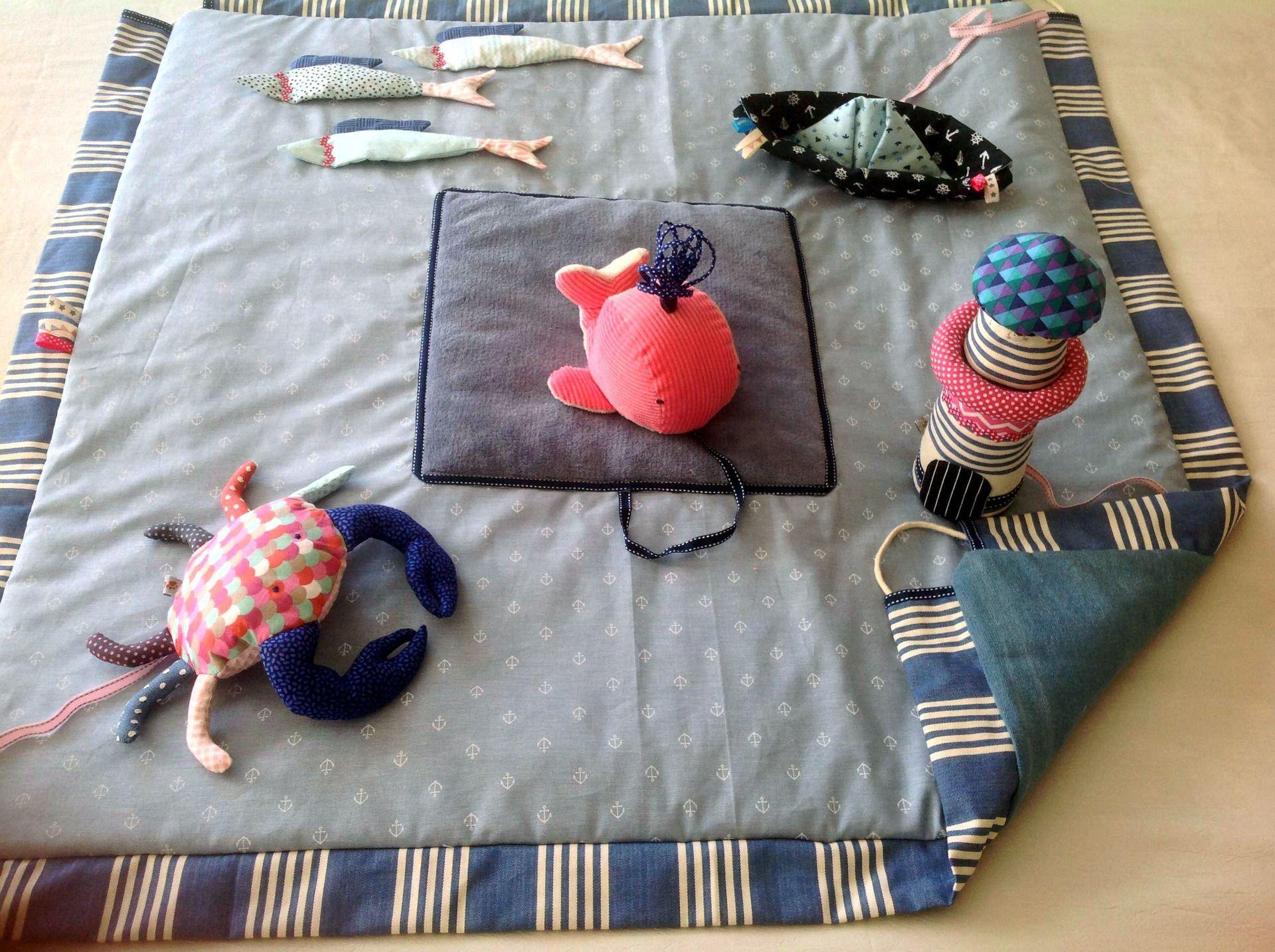 Tapis d éveil sensoriel transformable en sac de rangement Jeux