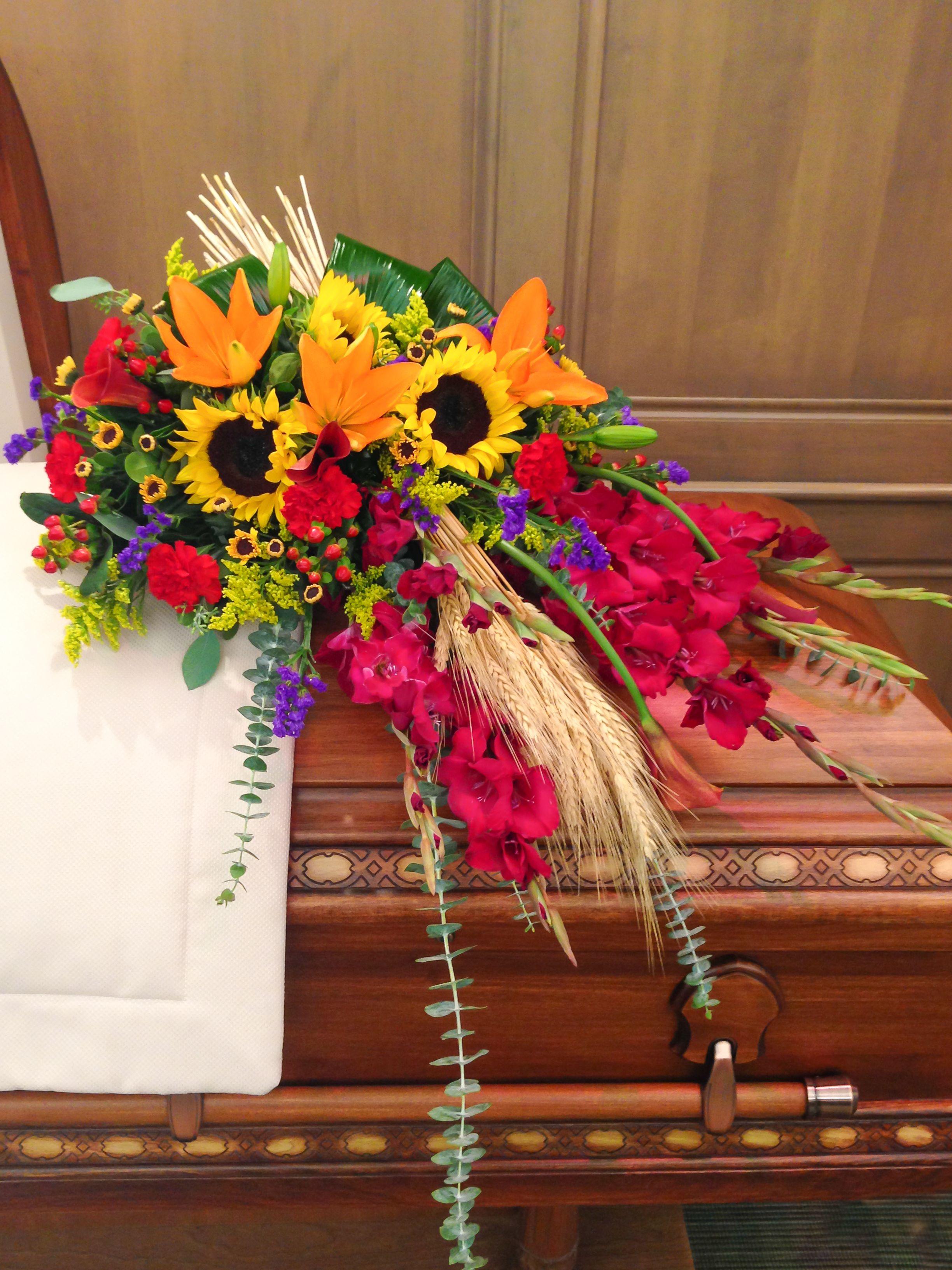 Casket Spray With Wheat 234763 Dohertys Flowers Sympathy Work