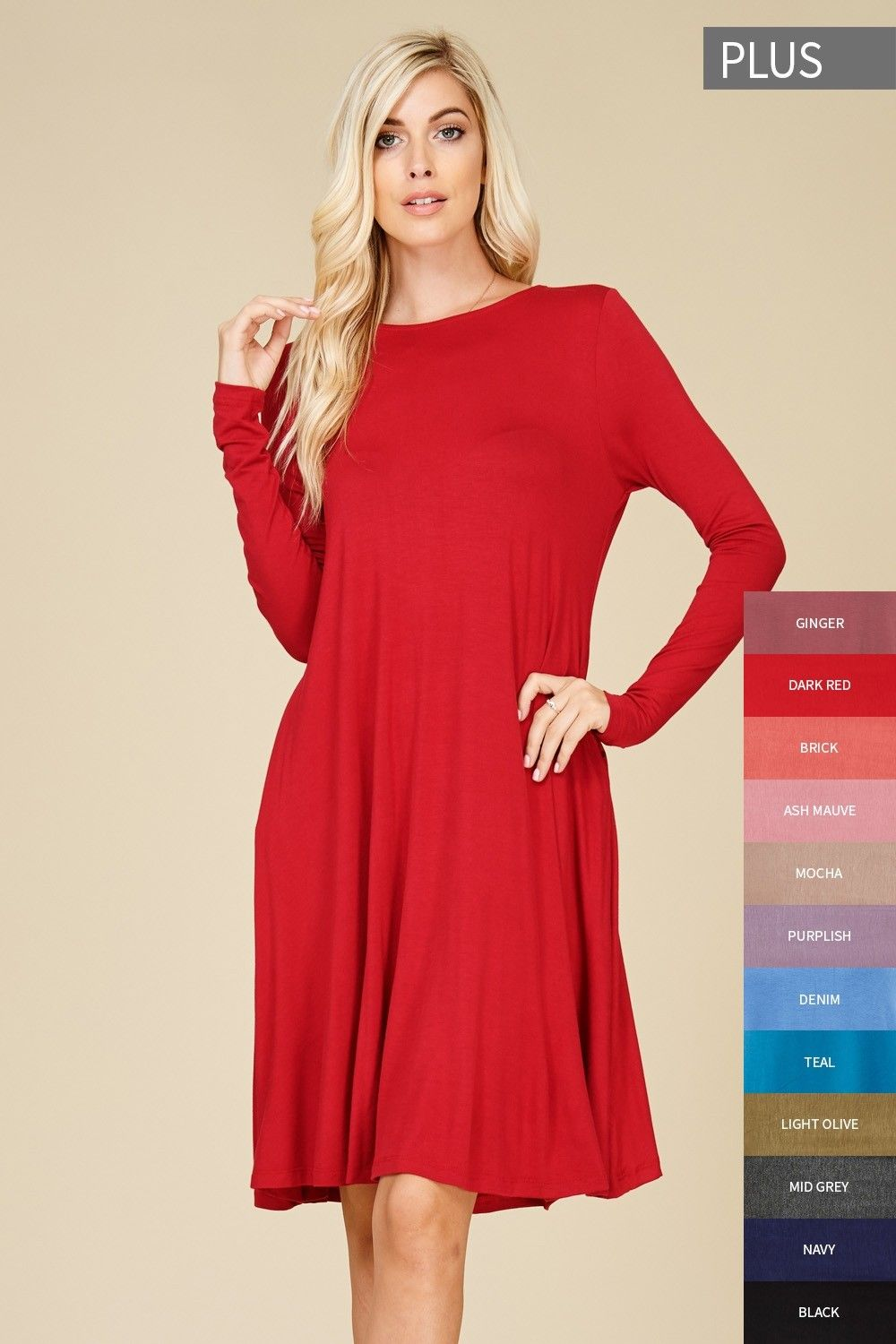 53e0063ef72 Plus Size Long Sleeve Midi Dress Style  D5239P  PRE-ORDER Plus size knit