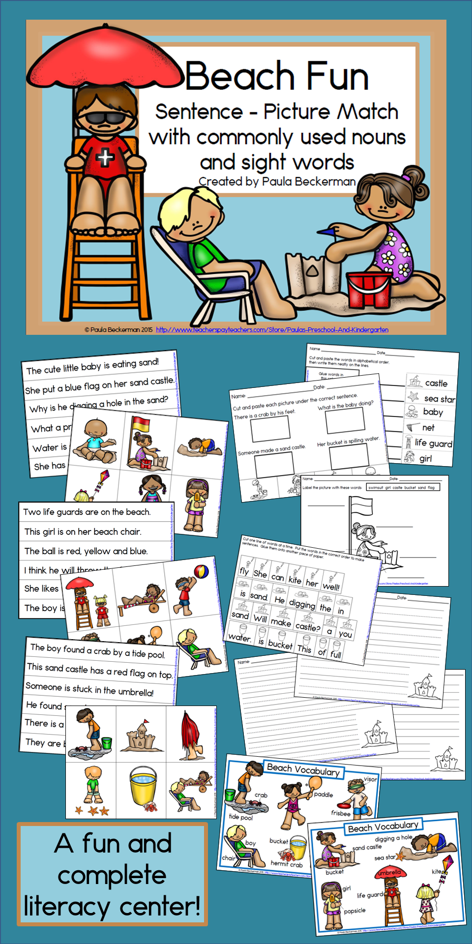 Beach Fun Sentence Picture Match Reading Center | Pinterest | Beach ...