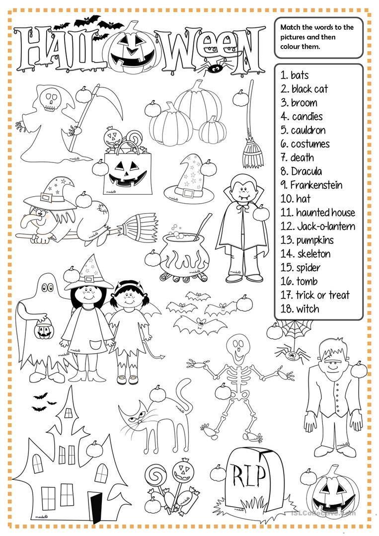 Halloween Matching Worksheet Free Esl Printable Worksheets Made Halloween Worksheets Halloween Lesson Halloween School Halloween worksheets pic word matching
