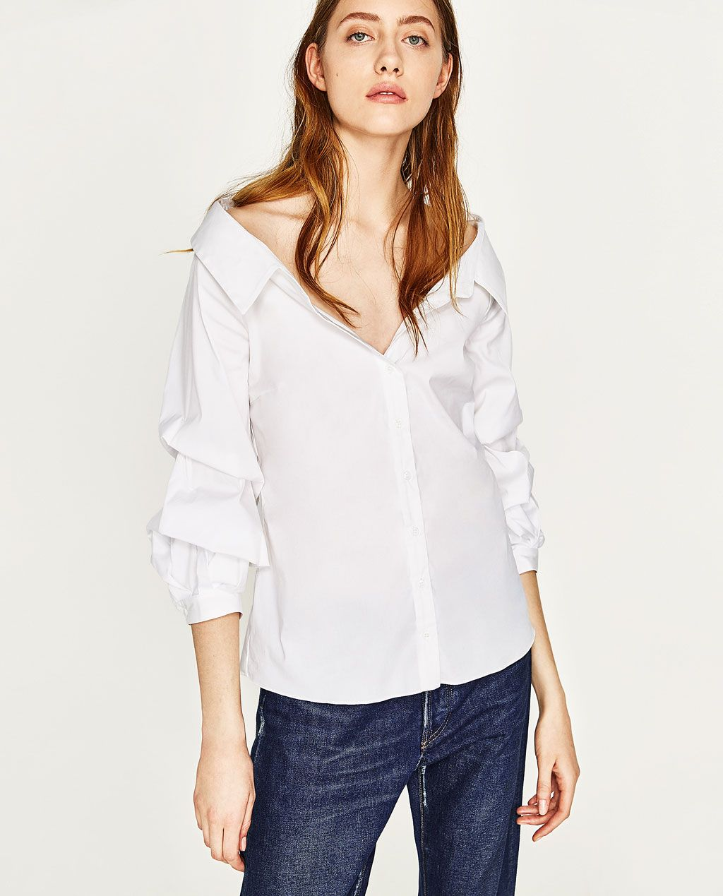 3a014cdcb53 WIDE OPEN NECK SHIRT WITH PUFFY SLEEVES-NEW IN-WOMAN | ZARA United States