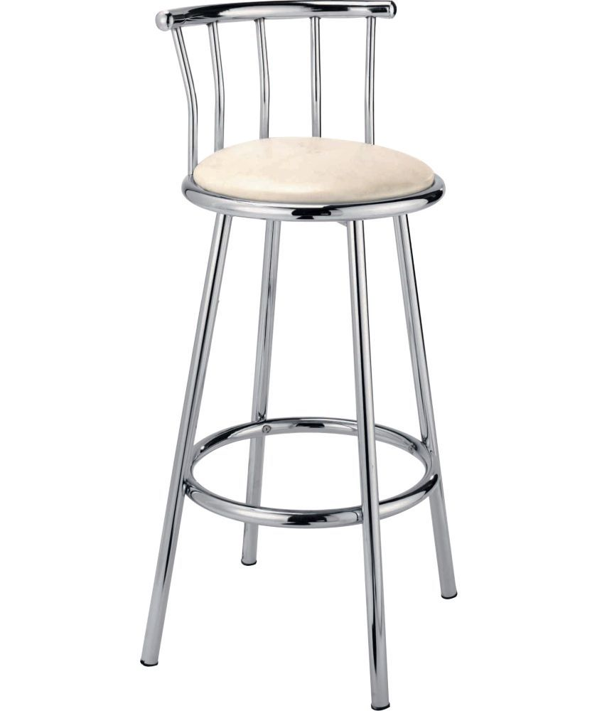 Home Gemini Leather Effect Bar Stool Cream Kitchen