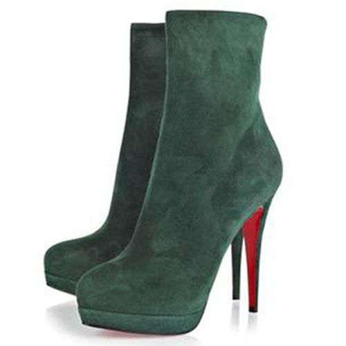 Christian Louboutin Alti 140mm Suede Ankle Boots Dark Green Red Sole Shoes