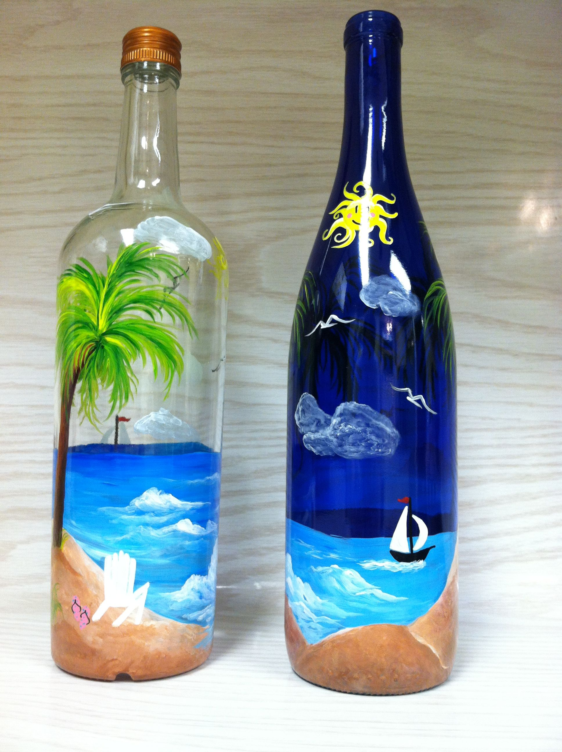 Hand painted bottles beach scenes Cobalt blue