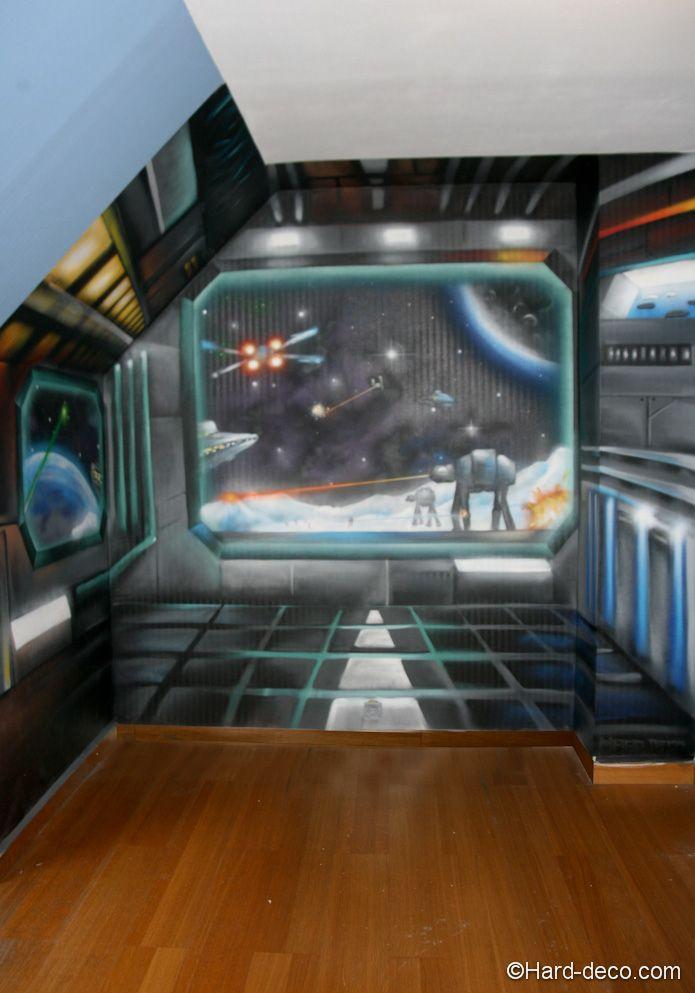 trompe l 39 oeil vaisseaux star wars hard deco anniversaire. Black Bedroom Furniture Sets. Home Design Ideas