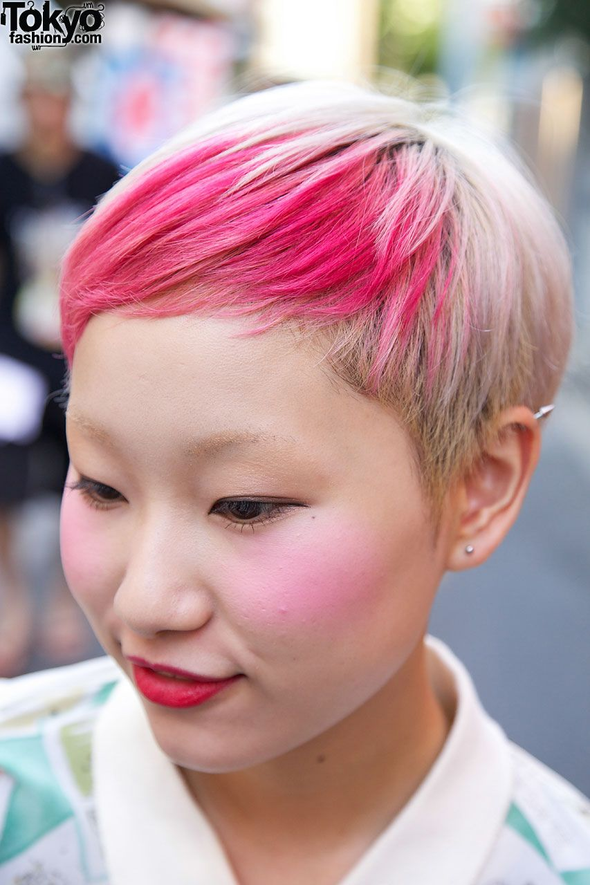 girl with blonde & pink hair in harajuku #hair | hair | pinterest