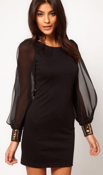 84 90zl Mala Czarna Zwiewna Sukienka Mini Z Dlugim Rekawem Sukienka Koktajlowa Na Imp Asos Bodycon Dress Embellished Chiffon Black Bodycon Dress Long Sleeve
