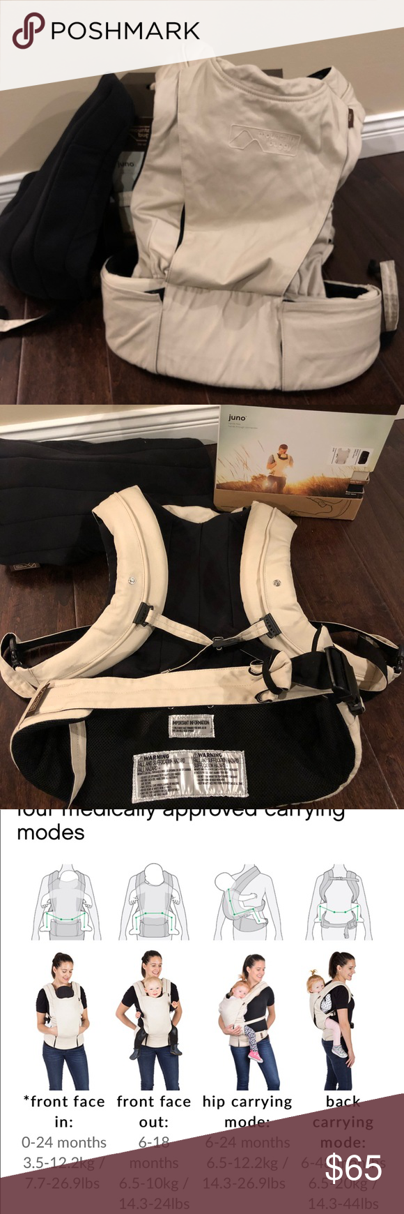 Mountain Buggy Juno Baby Carrier Euc Sand Color With Black Infant Insert Only Converse Chuck Taylor High Top Sneaker Baby Carrier Converse High Top Sneaker