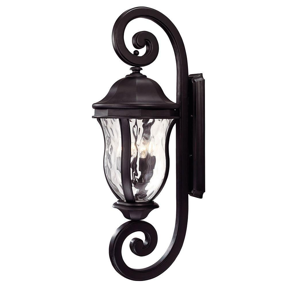 Satin 4-Light Outdoor Black Wall Lantern with Clear Water Glass