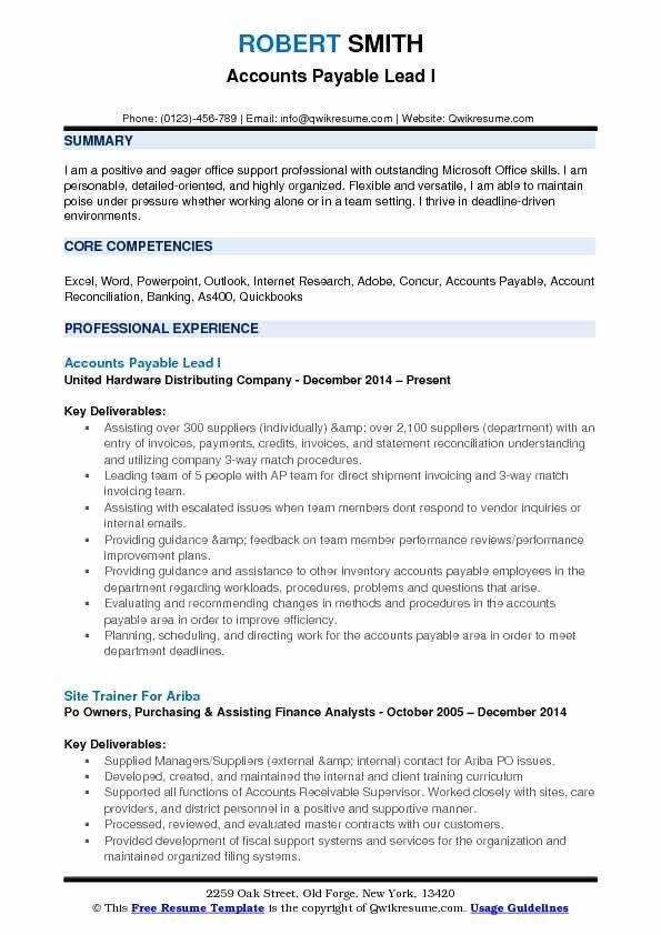Accounts Payable Resume Example Best Of Accounts Payable Lead Resume Samples Resume Guru