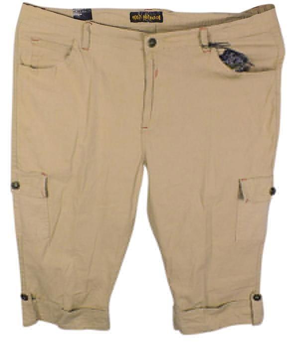 cbbd3e3945c Old Skool Urban Wear New Khaki Beige Cargo Capris Size 24 (Plus 2x)