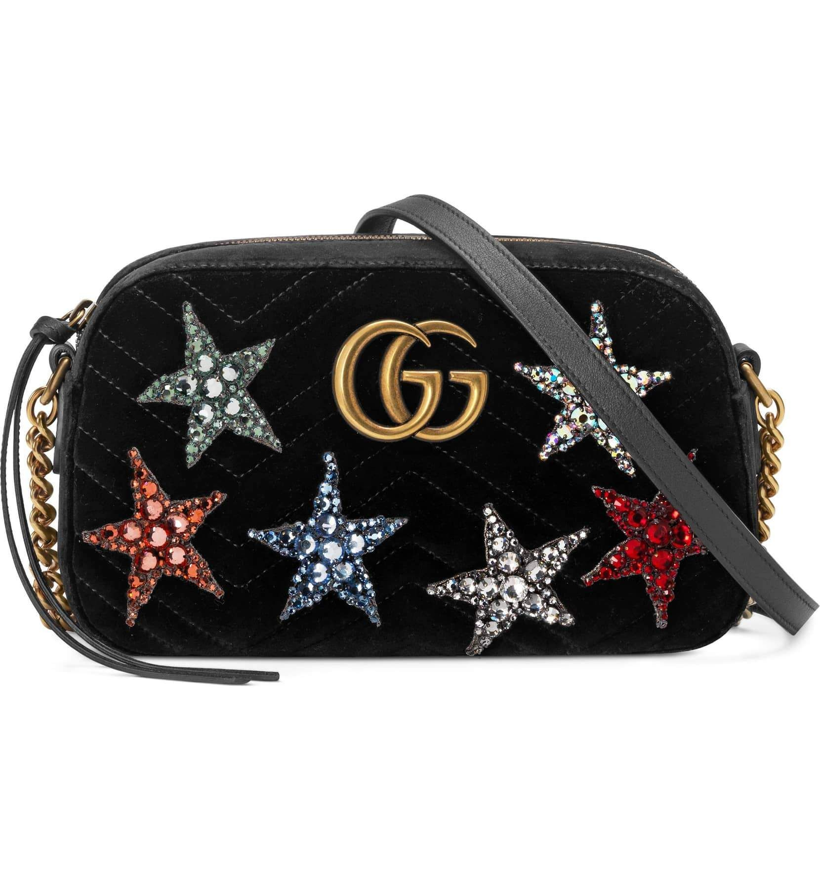 5af138c83208 Gucci Small Marmont Crystal Stars Velvet Bag in 2019   Products ...