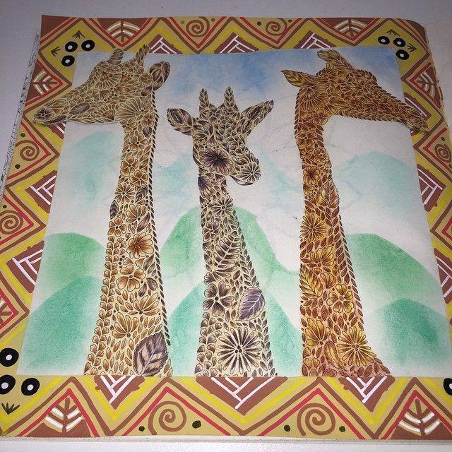 Girafas prontas!! #girafas #books #colorindo #cores #livro #fotododia #desenho…