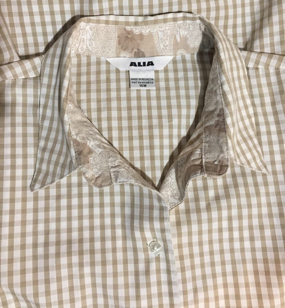 4ba621bff8016a ALIA Plus Size 16W Shirt 3/4 sleeve Brown & White Check Gingham Button Front