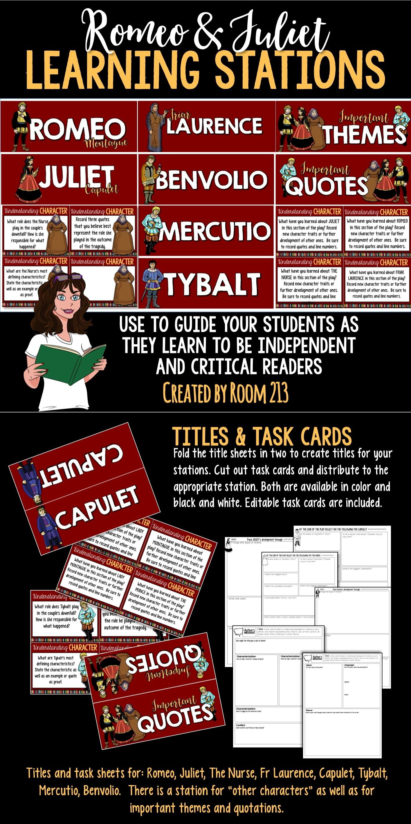 romeo and juliet learning stations student romeo and juliet and romeo juiet these stations focus on character and theme development and help your students become more independent in their analysis and critical