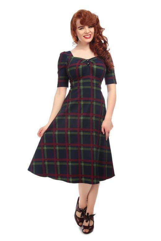 5575cd55fac2 Collectif Vintage Dolores H s Darling Check Flared Dress - Collectif Vintage  from Collectif UK