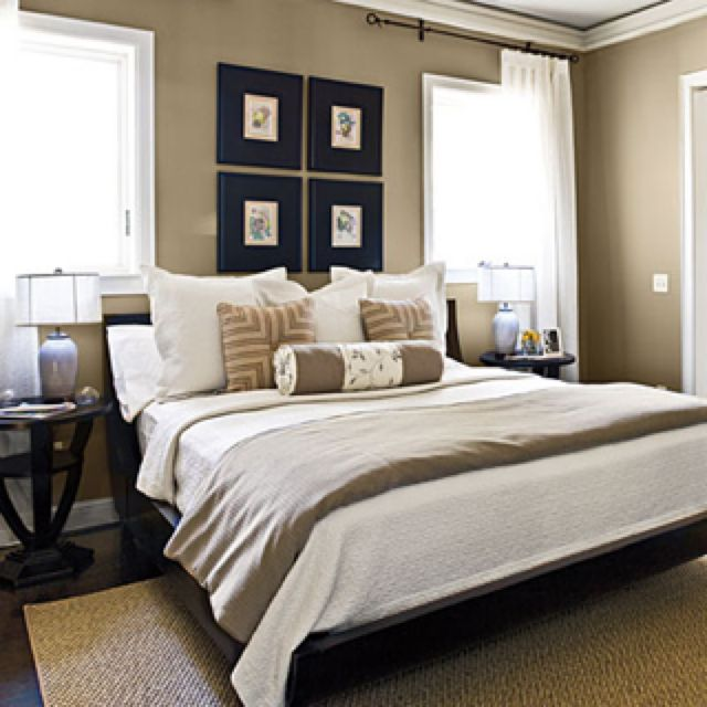 Taupe Walls, White Bedding, White Curtains. Neutral