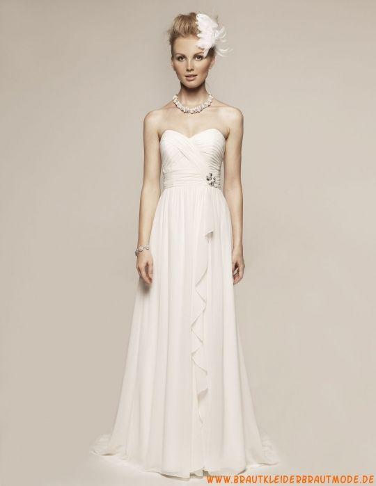 Modernes traumhaftes Hochzeitskleid aus Chiffon Herzausschnitt