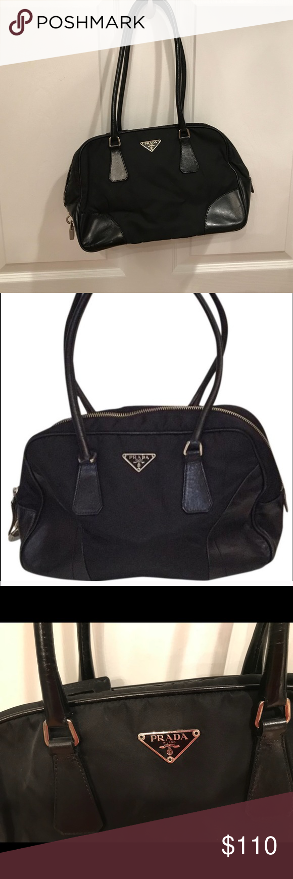 AUTHENTIC Prada Bowling Bag Prada Leather   Nylon Black Bowling Bag.  Lightly worn. No sign of wear or tear. In great condition!!! Prada Bags 0a28b3fefd